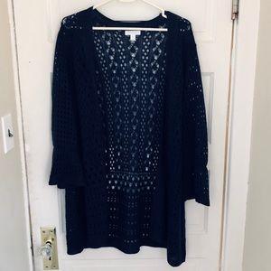 Charter Club Navy Crochet Open Cardigan Size 3X